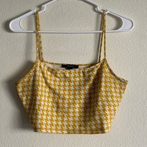 Forever 21 Yellow Houndstooth Cropped Tank Top
